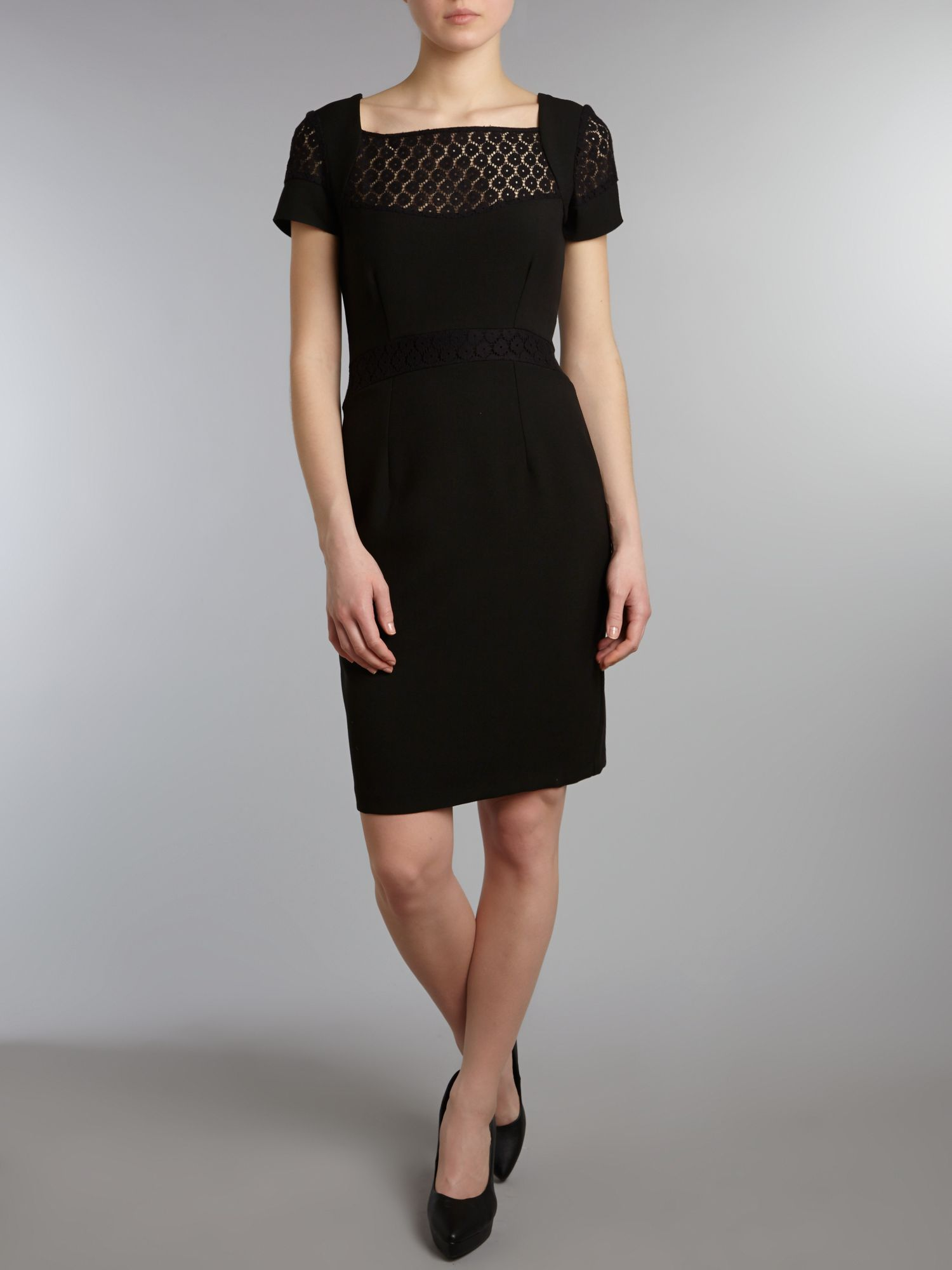 Lace contrast pencil dress