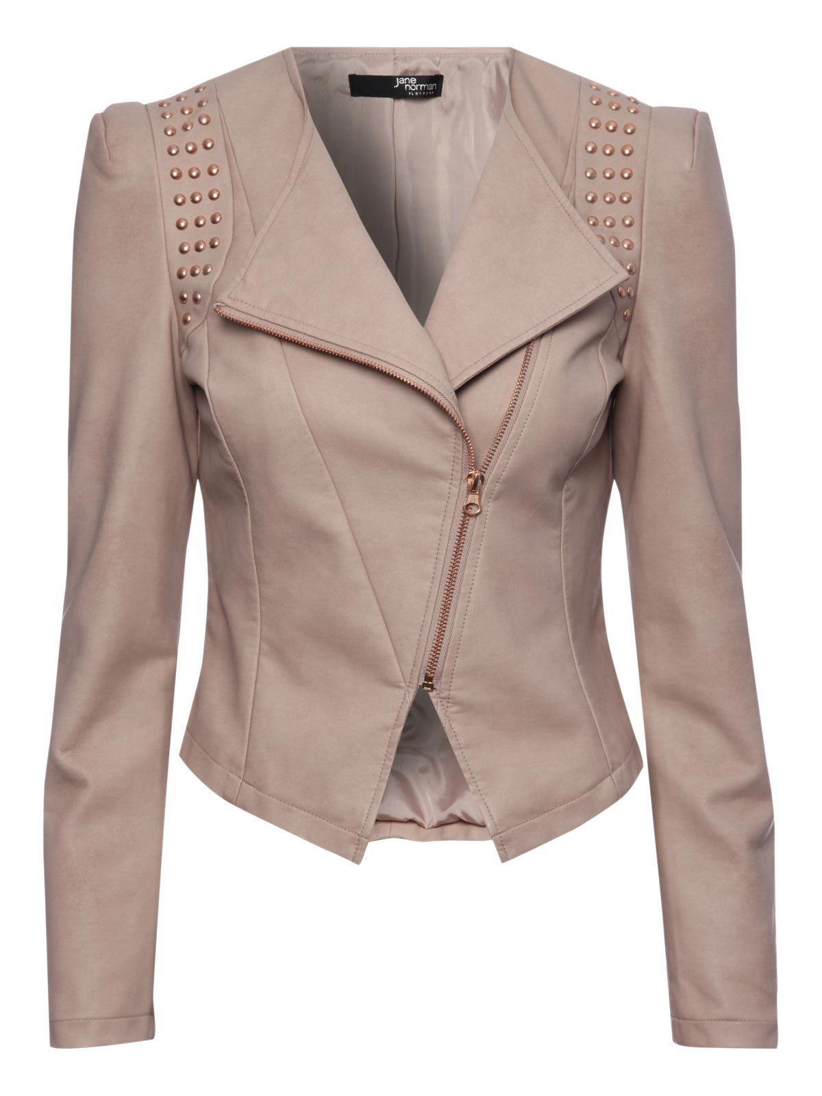 Pu studded sharp shoulder jacket