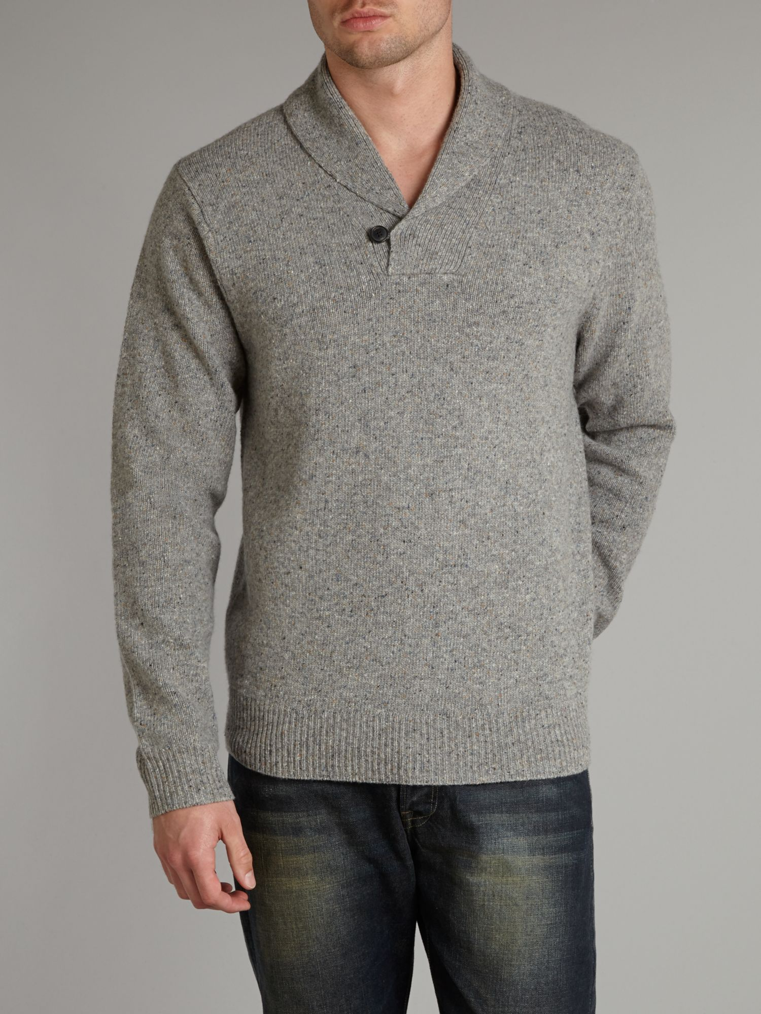 Tweed shawl neck jumper