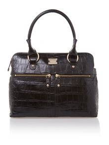 Pippa black crocodile tote bag