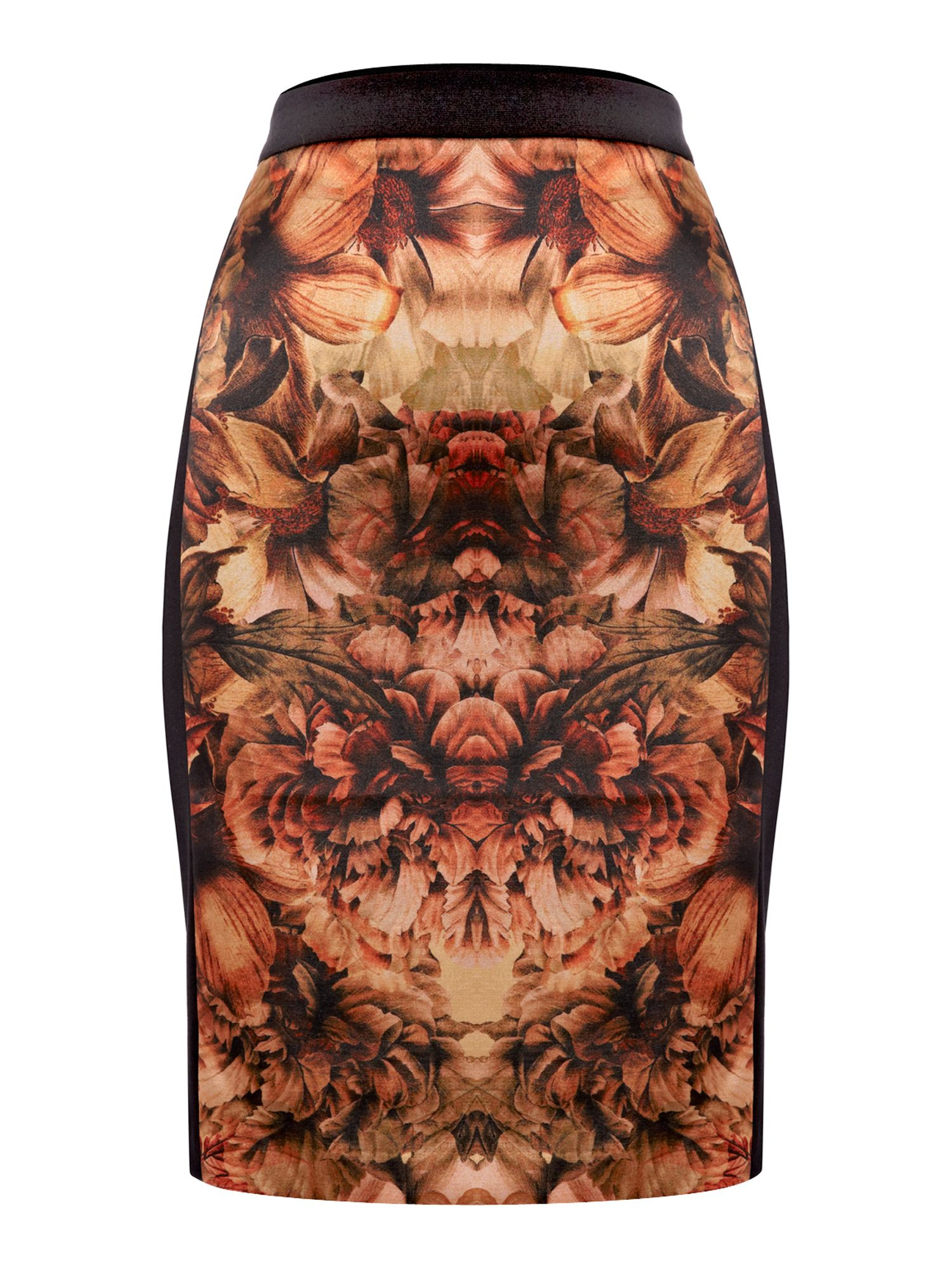 Bonfire print panelled skirt