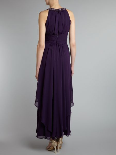 Eliza J Chiffon beaded halter dress