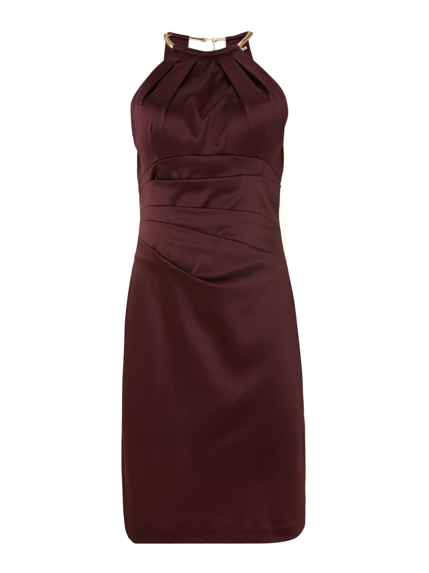 Built Up Satin Halterneck Dress