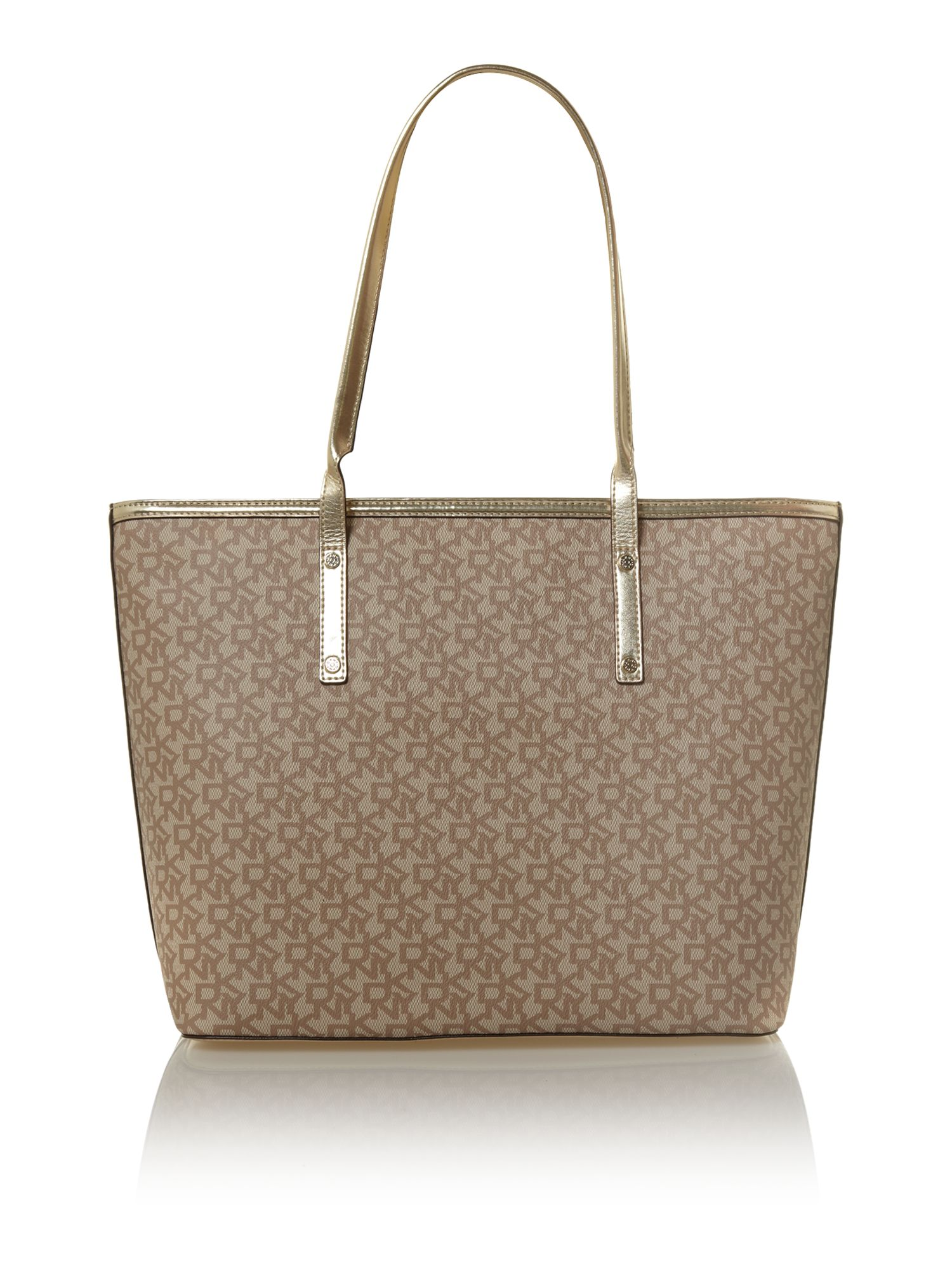 Coated logo large neutral tote bag