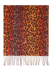 Striped leopard print wide Cashmink® scarf
