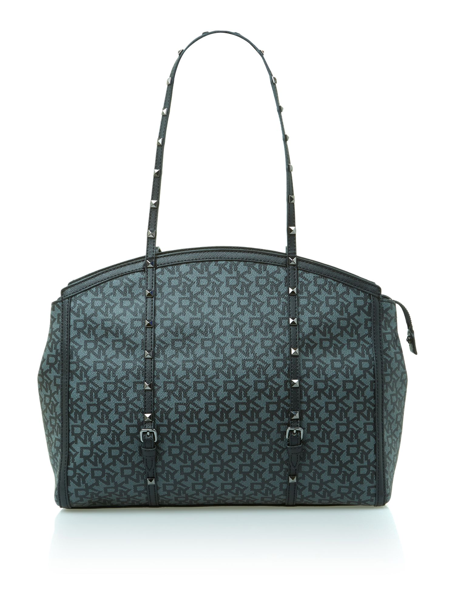 Coated logo with studs black tote bag