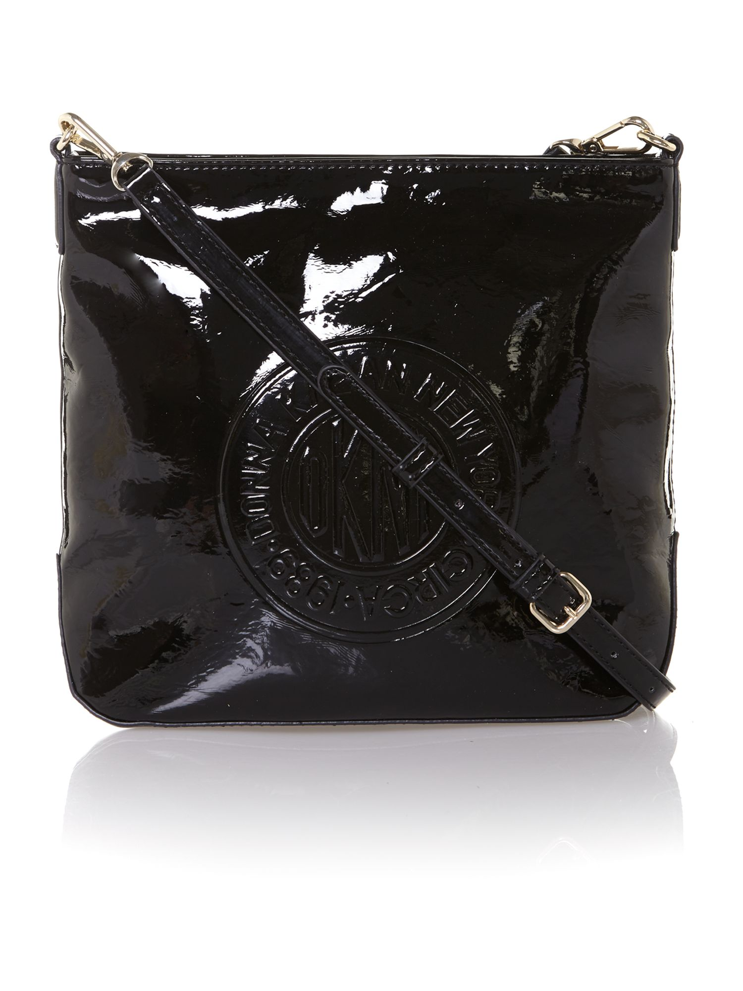 Patent coin logo small black cross body bag