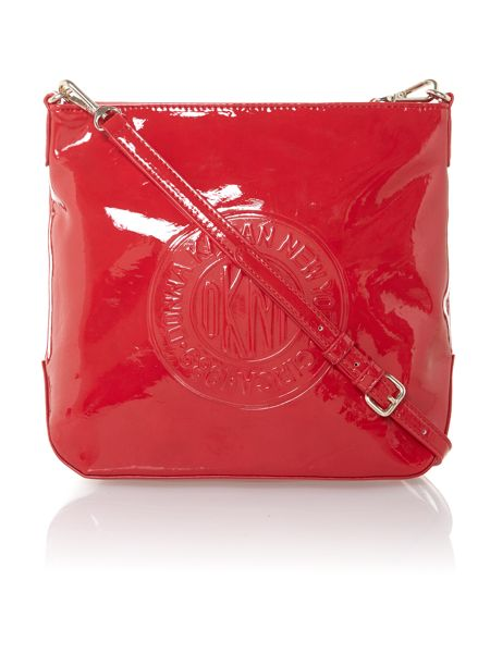 DKNY Patent coin logo small red cross body bag