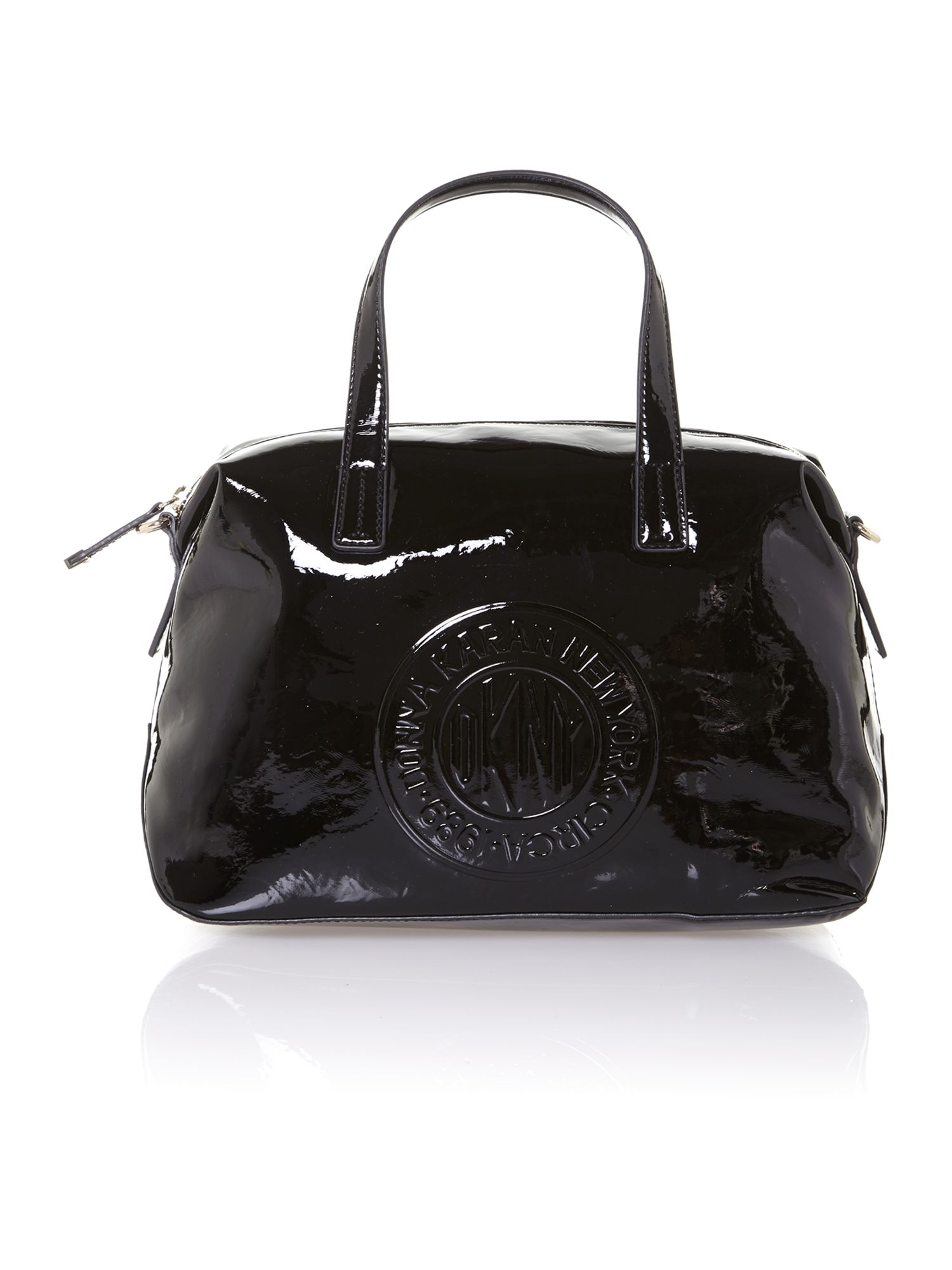 Patent coin logo medium black tote bag