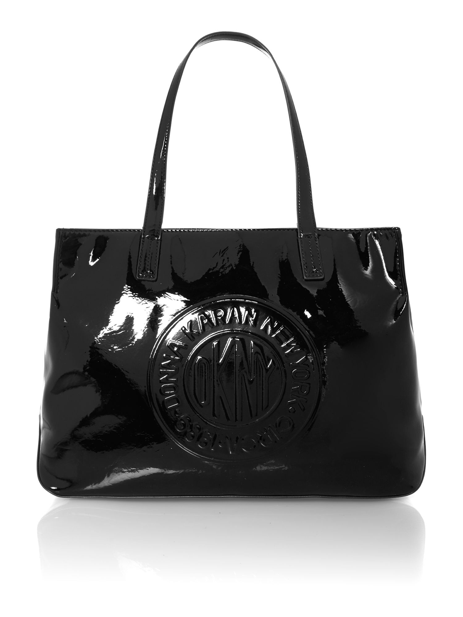 Patent coin logo large black tote bag