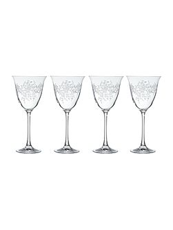 Shabby Chic Floral Burst wine glasses, set of