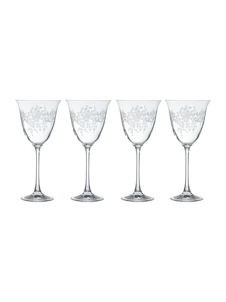 Shabby Chic Floral Burst wine glasses, set of 4