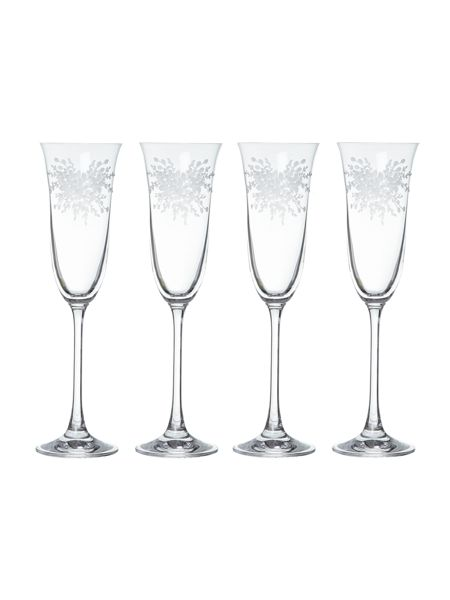 Shabby Chic Floral burst champagne glasses, box of 4
