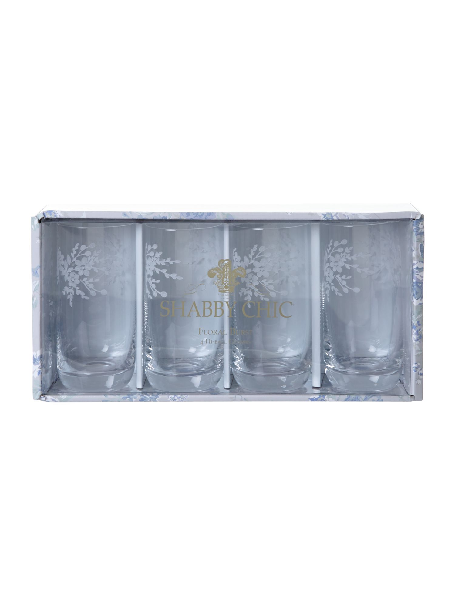 Floral burst high ball glasses, box of 4