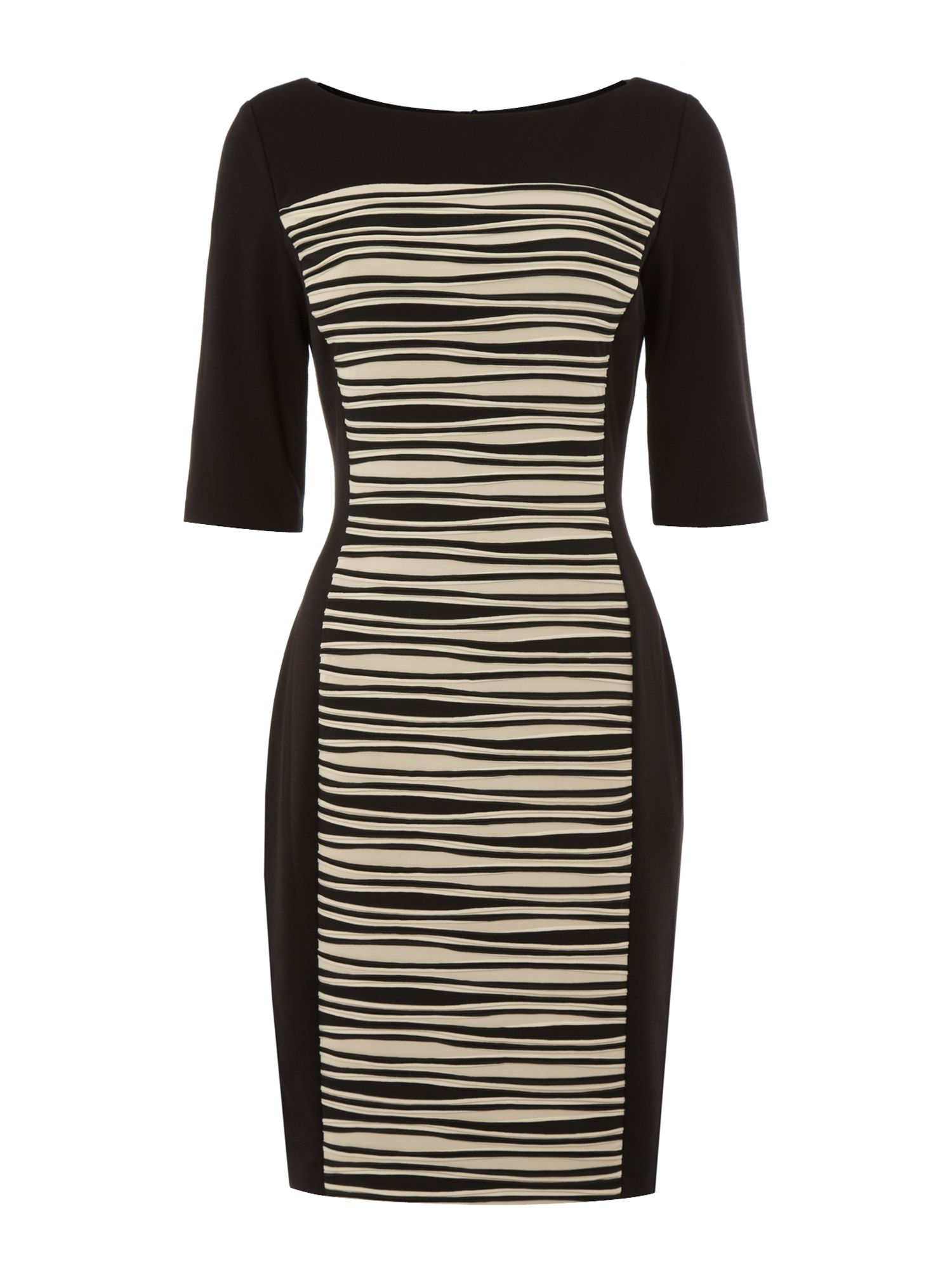 Contrast wave shutter ponte dress