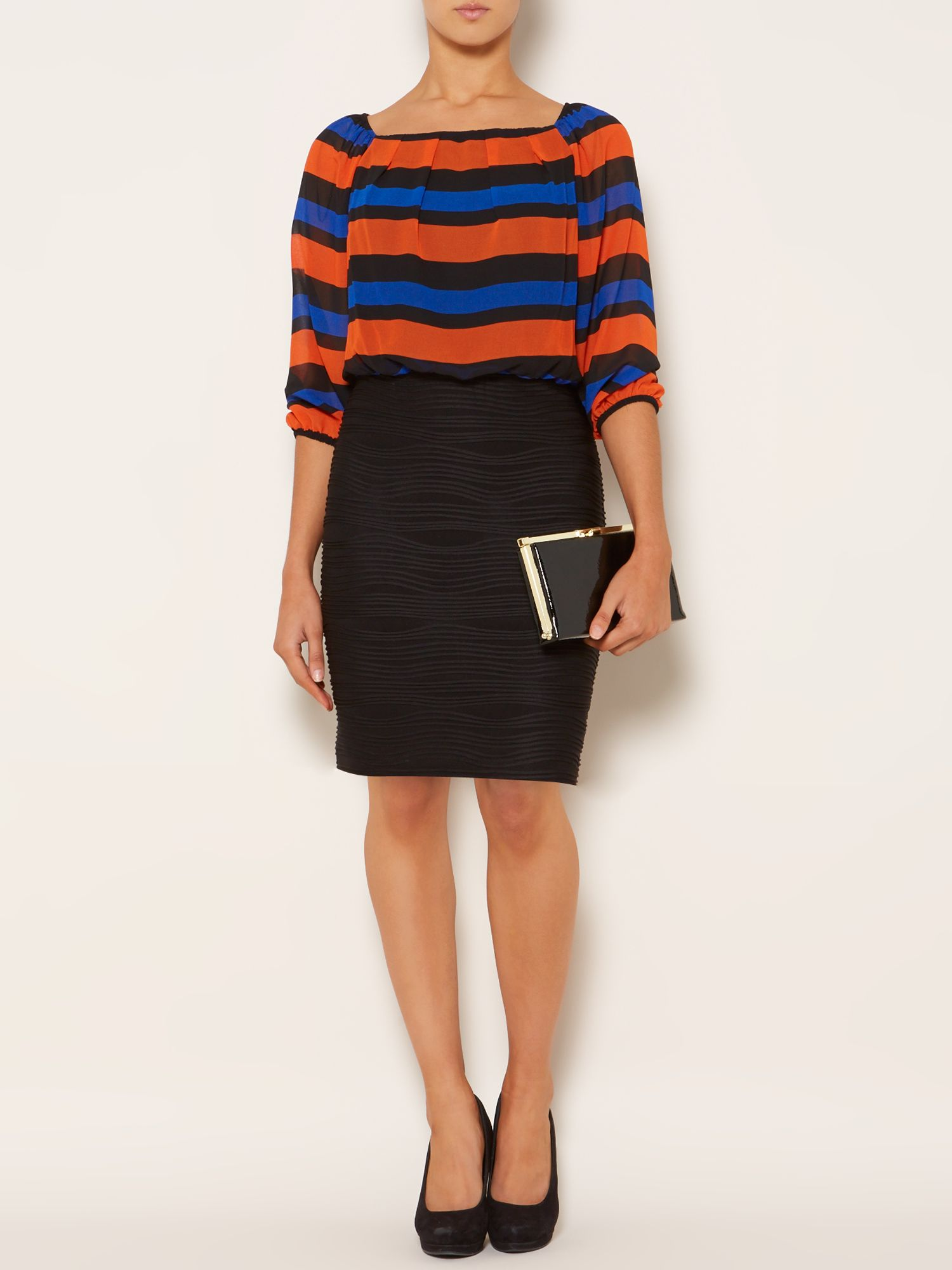 Woven top wave shutter skirt dress