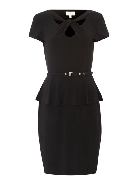 Twist front peplum dress