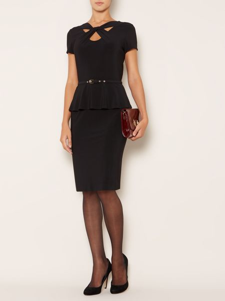 Linea Twist front peplum dress