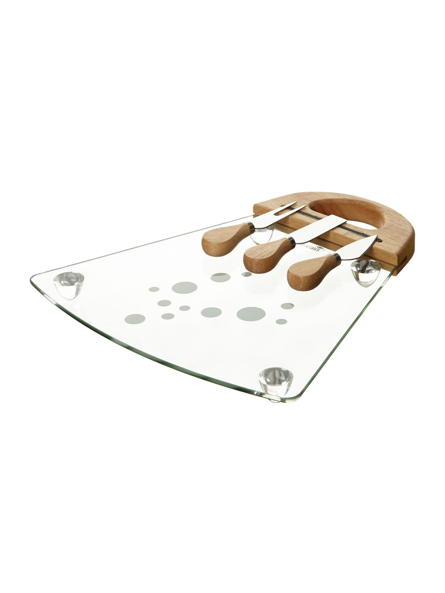 Glass cheese serving set
