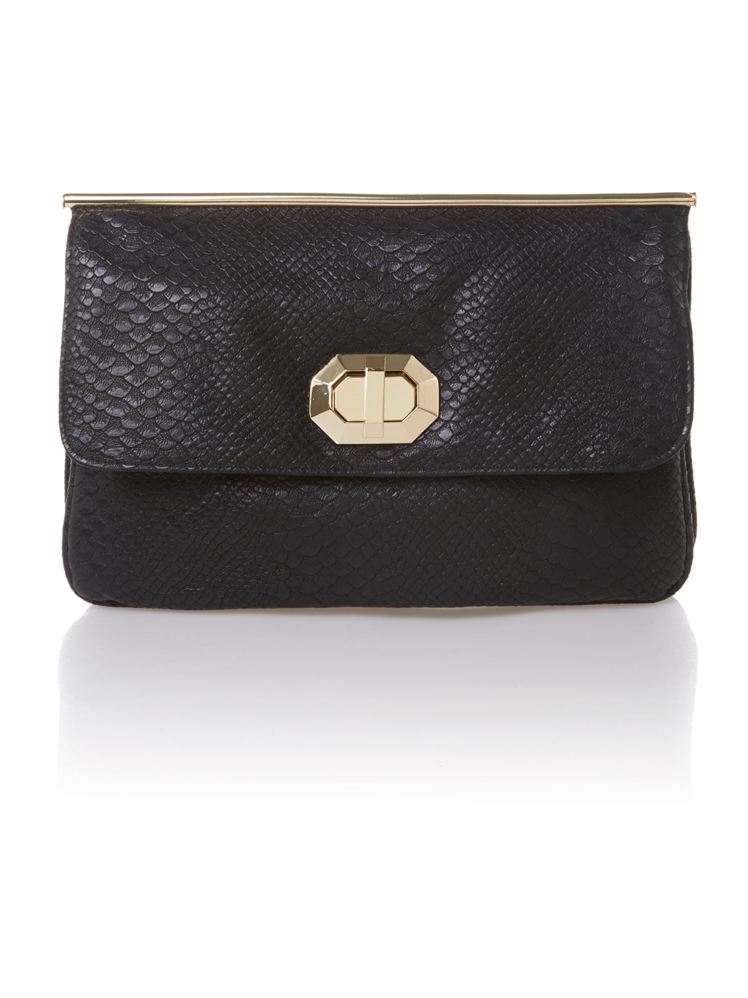 Snake black clutch bag