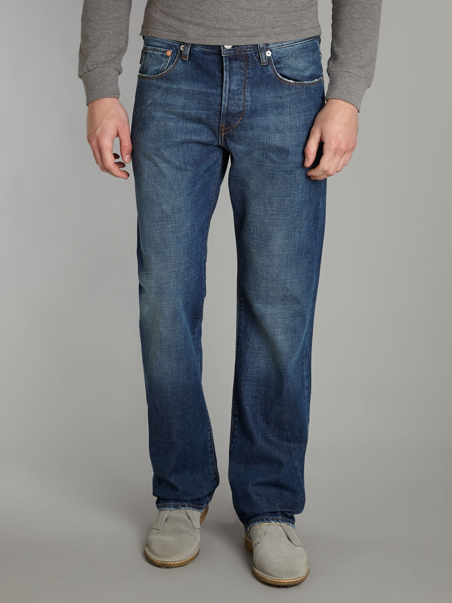 Easy fit mid wash jeans