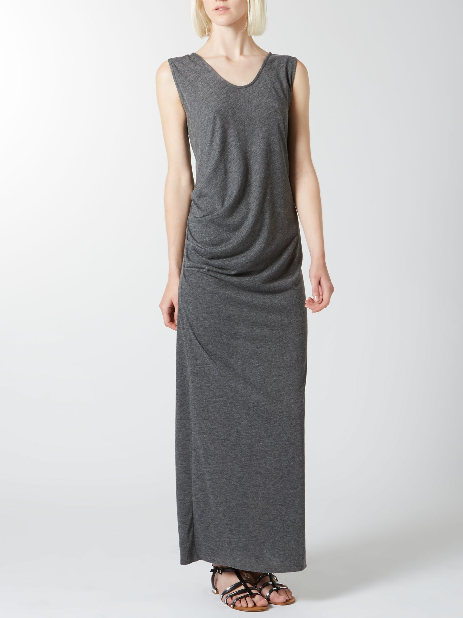 Side gathered maxi dress