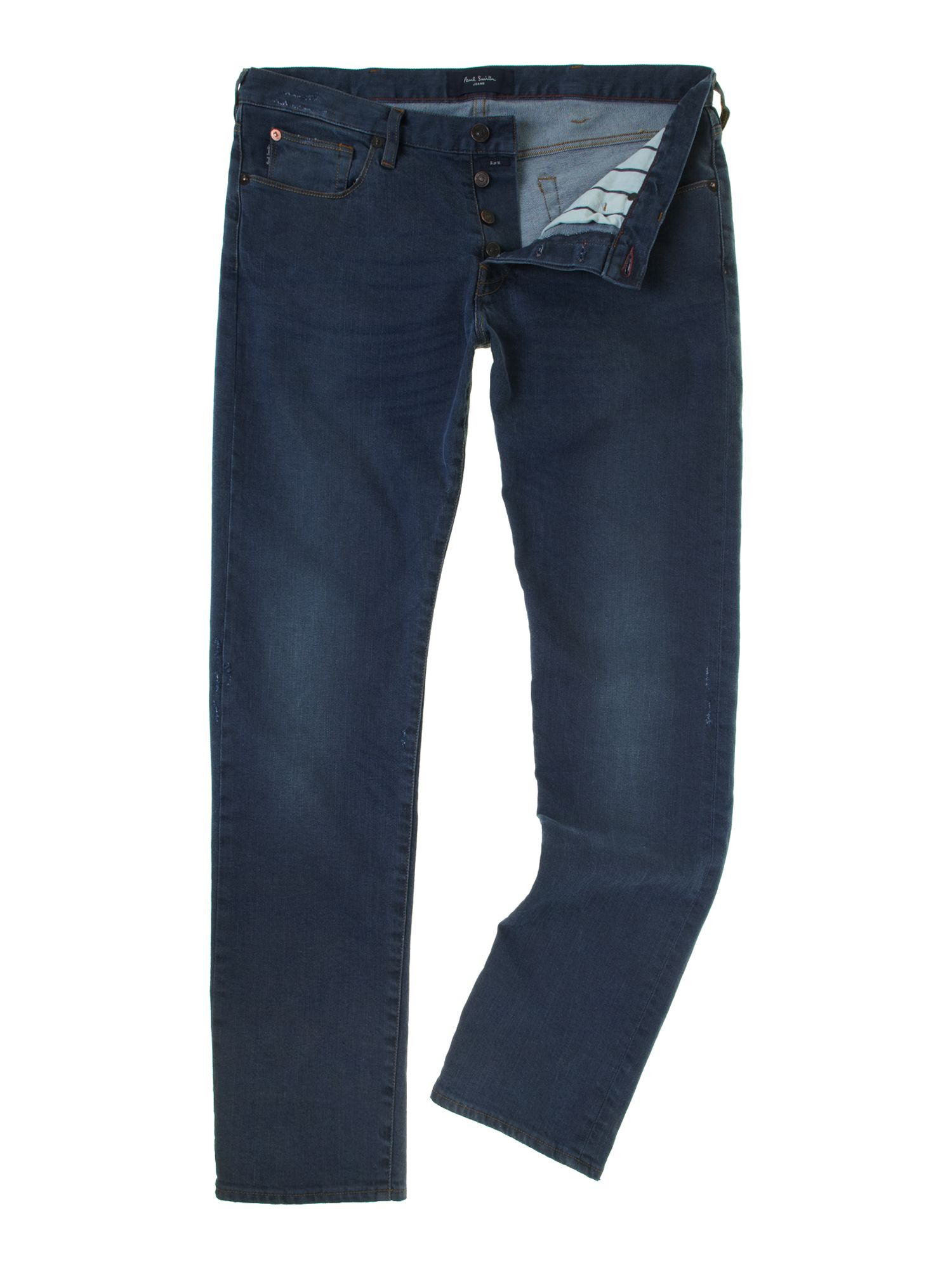 Tapered blue wash jeans