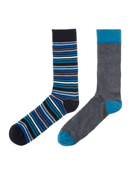 Linea 2 pack nautical wave stripe socks