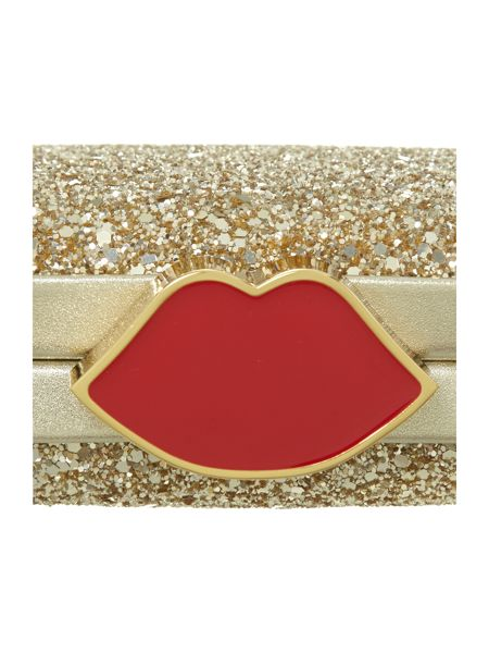Lulu Guinness Metallic glitter fifi clutch bag