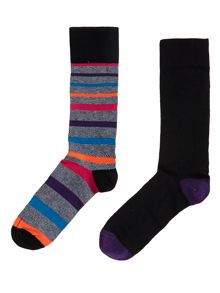 2 pack bright graduated stripe socks