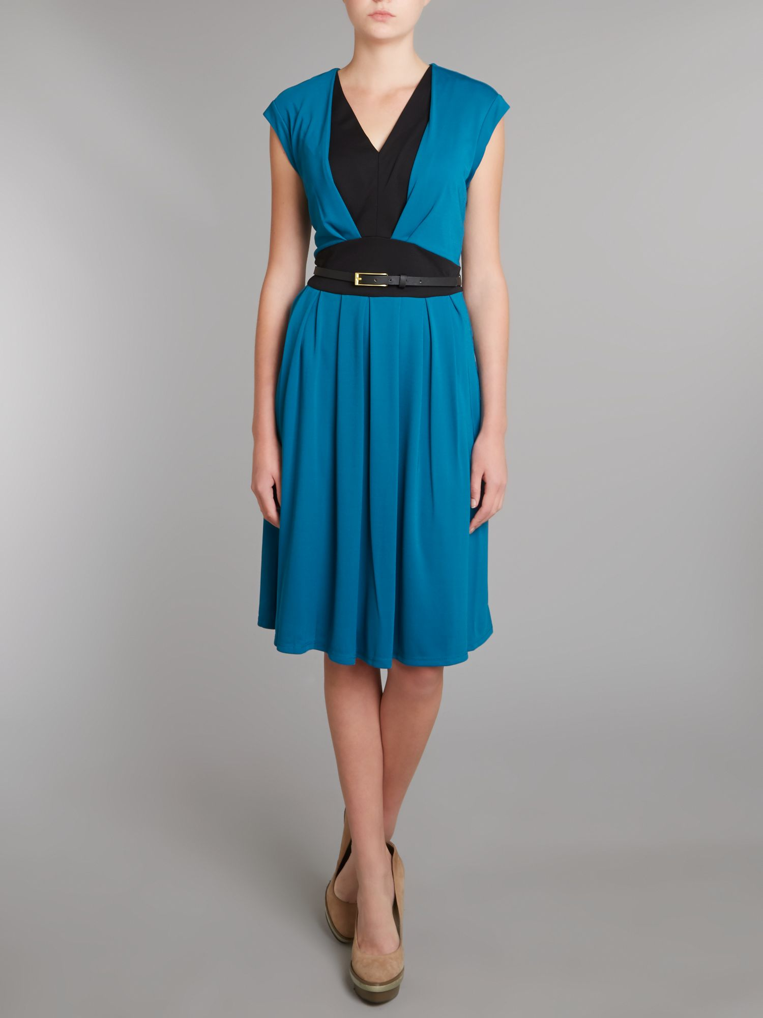 Colour Block Cap Sleeve Dress with Belt