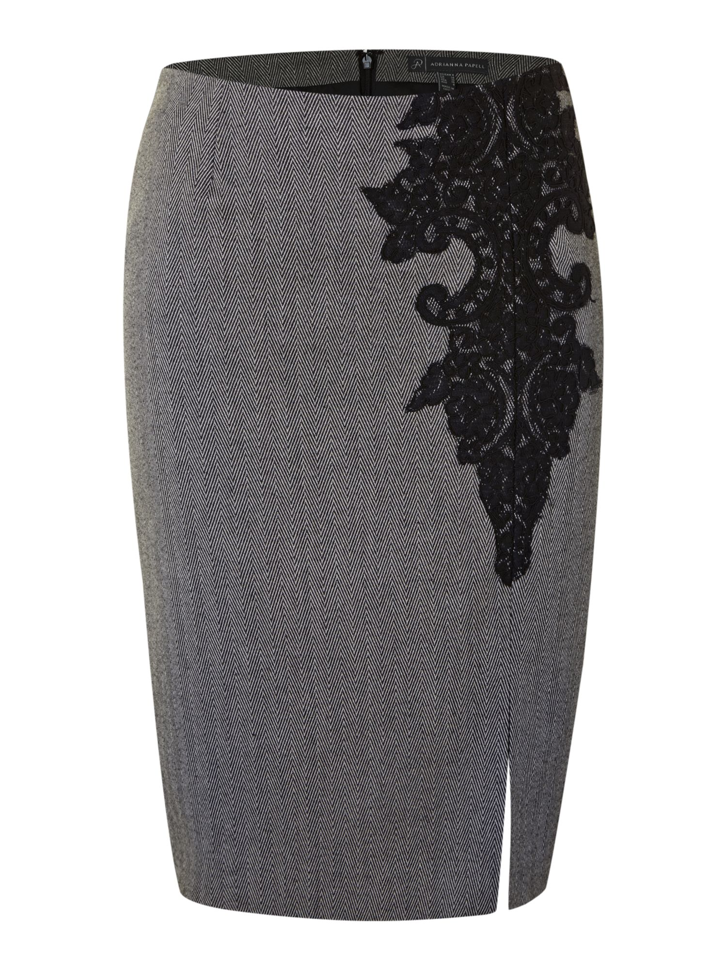 Lace Trim Pencil Skirt