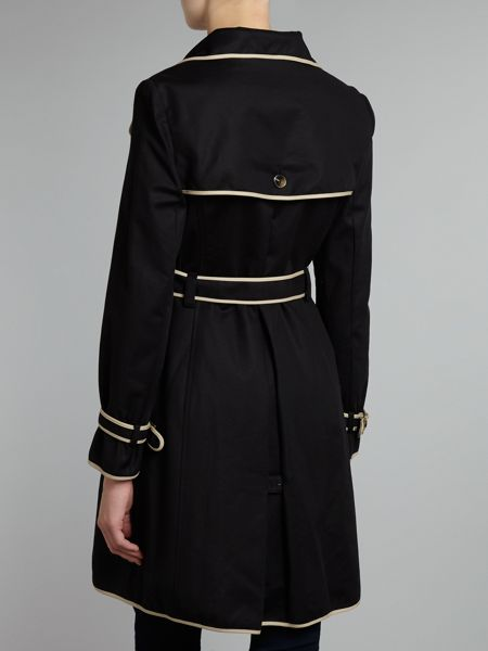 Adrianna Papell Belted trench with contrast binding