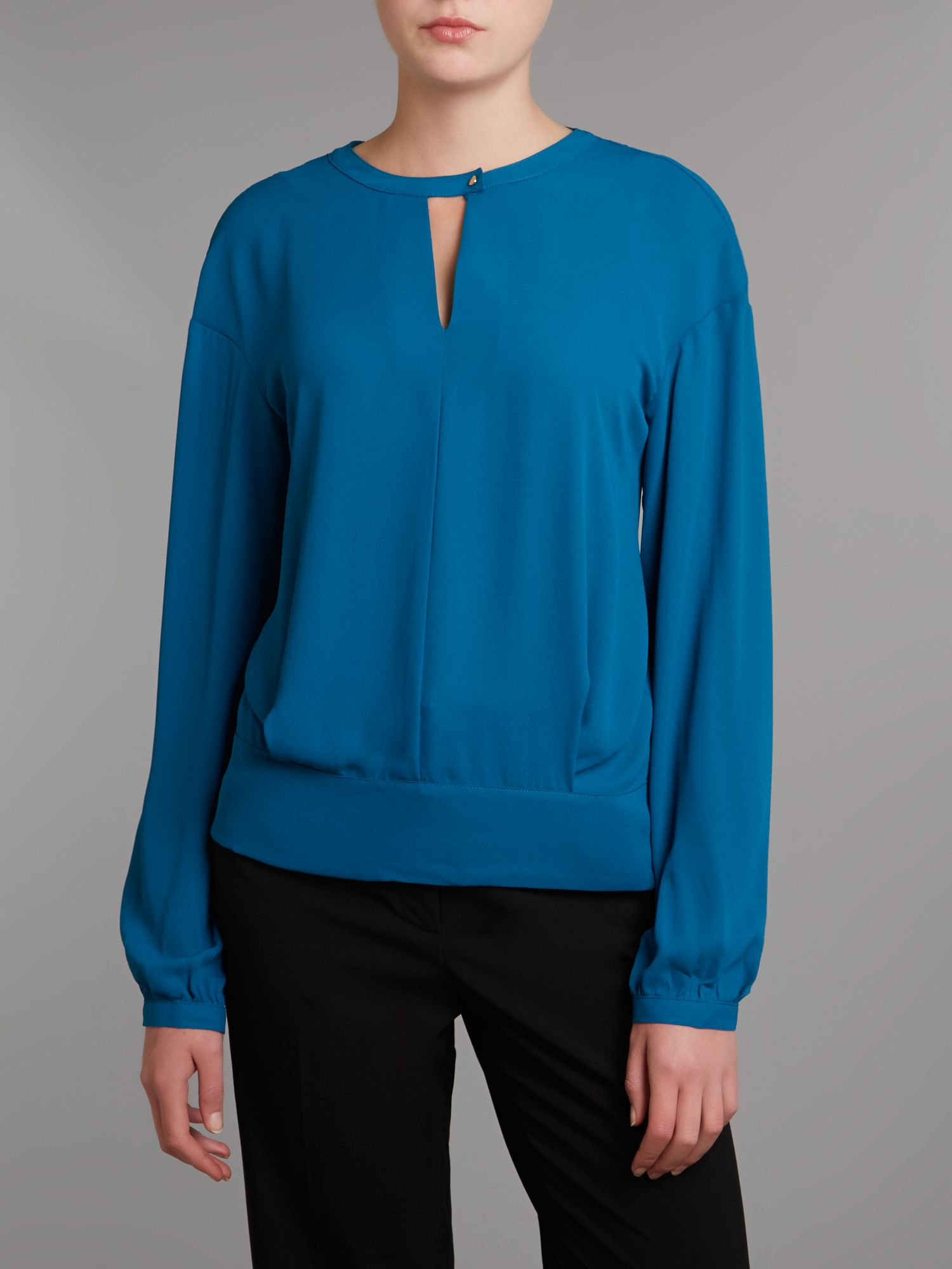 Drop Shoulder Blouse with Banded Hem