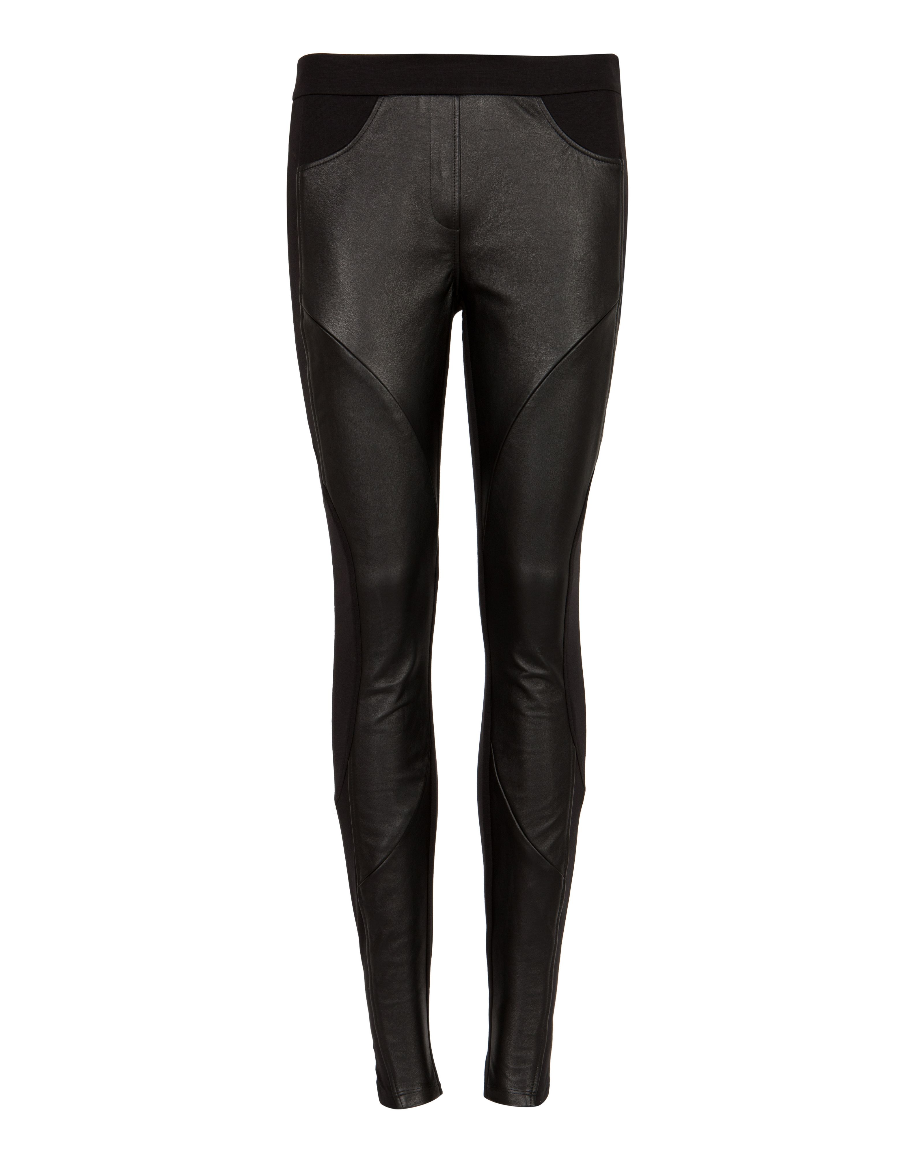 Foiy leather panel trousers