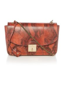 Waxed python 1984 red shoulder bag