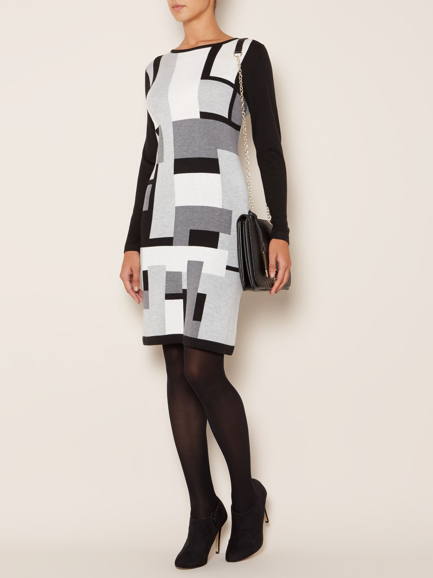 Intarsia block dress