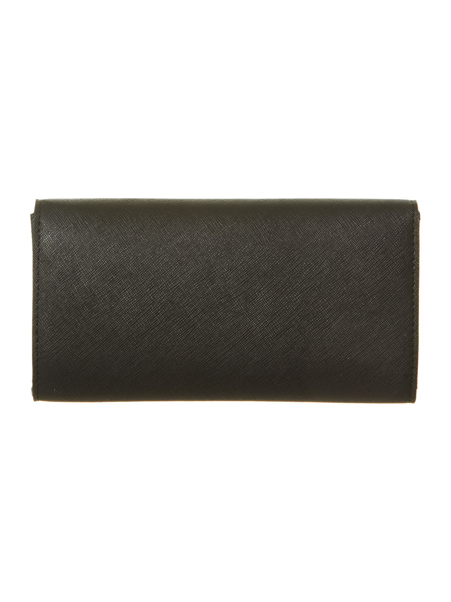Saffiano black flap over purse