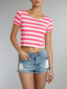Short sleeved cropped striped tee