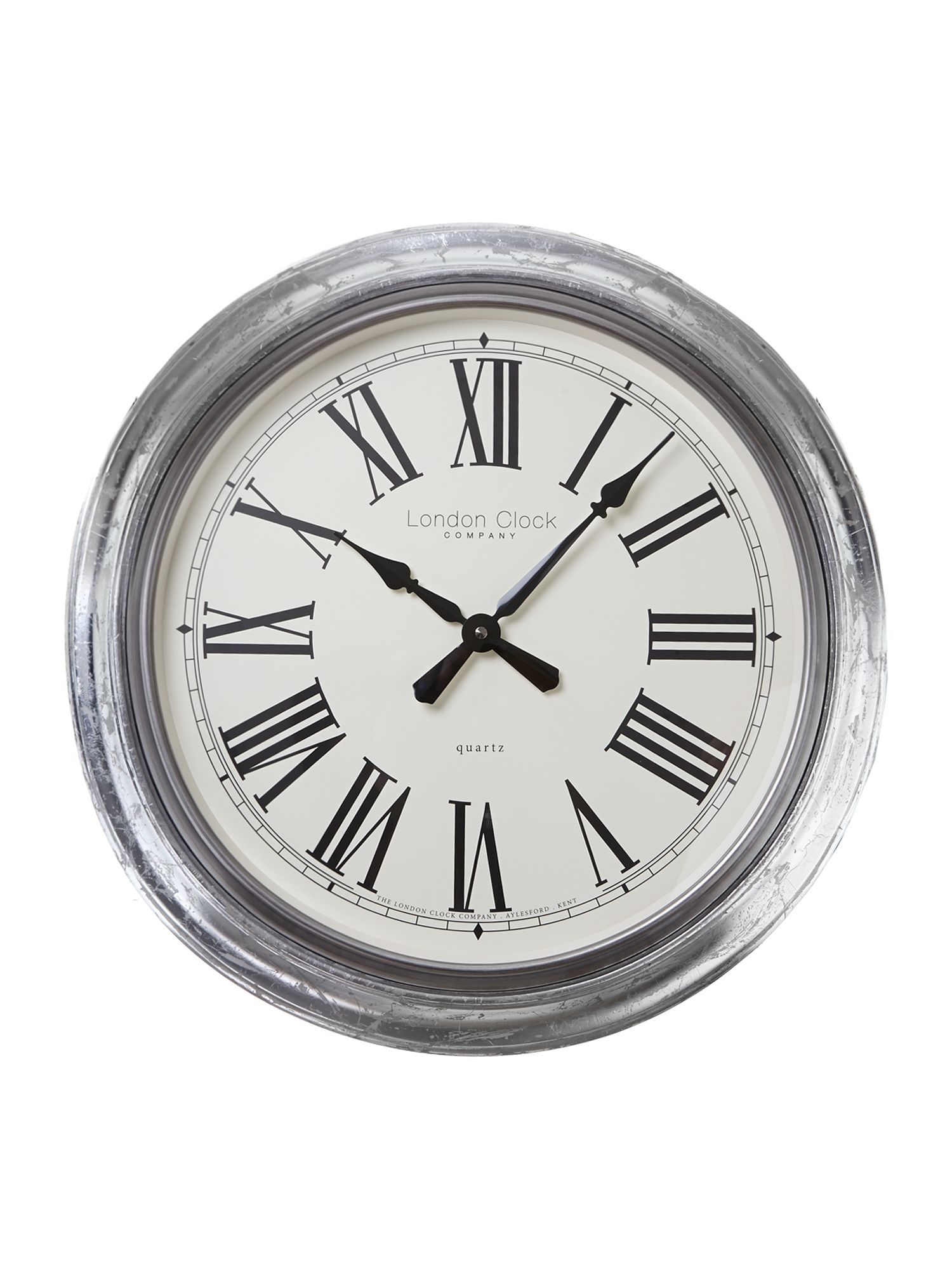 Large silver leaf finish wall clock