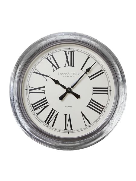 London Clock Large silver leaf finish wall clock
