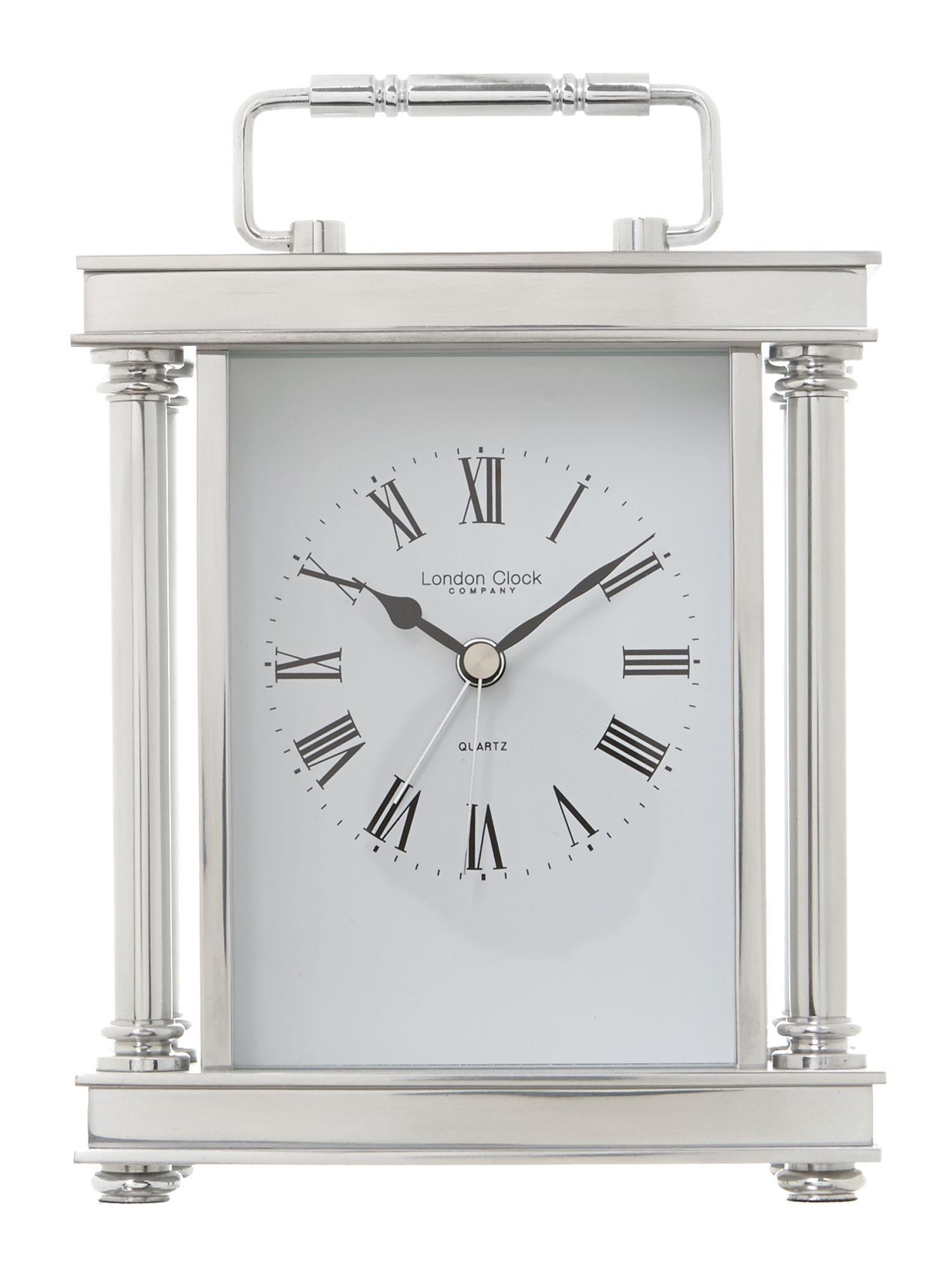 Silver finish carriage clock