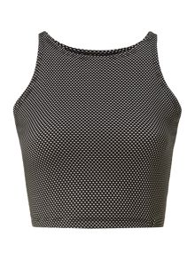 Sleeveless spotted crew neck cropped top