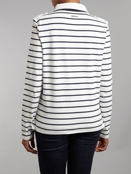 Barbour Striped Long Sleeve Tourer Top With Collar