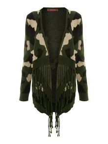 Knitted camouflage cardigan