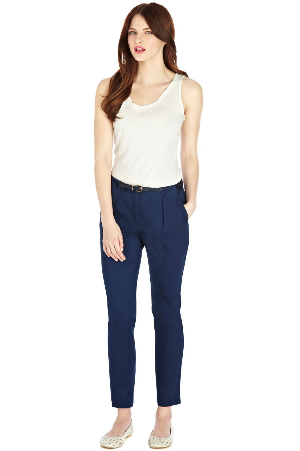 Loop cotton sateen slim leg trousers