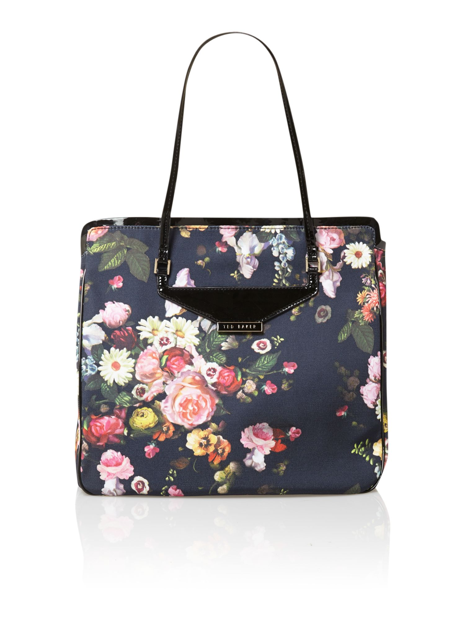 Floral canvas multi-coloured tote bag