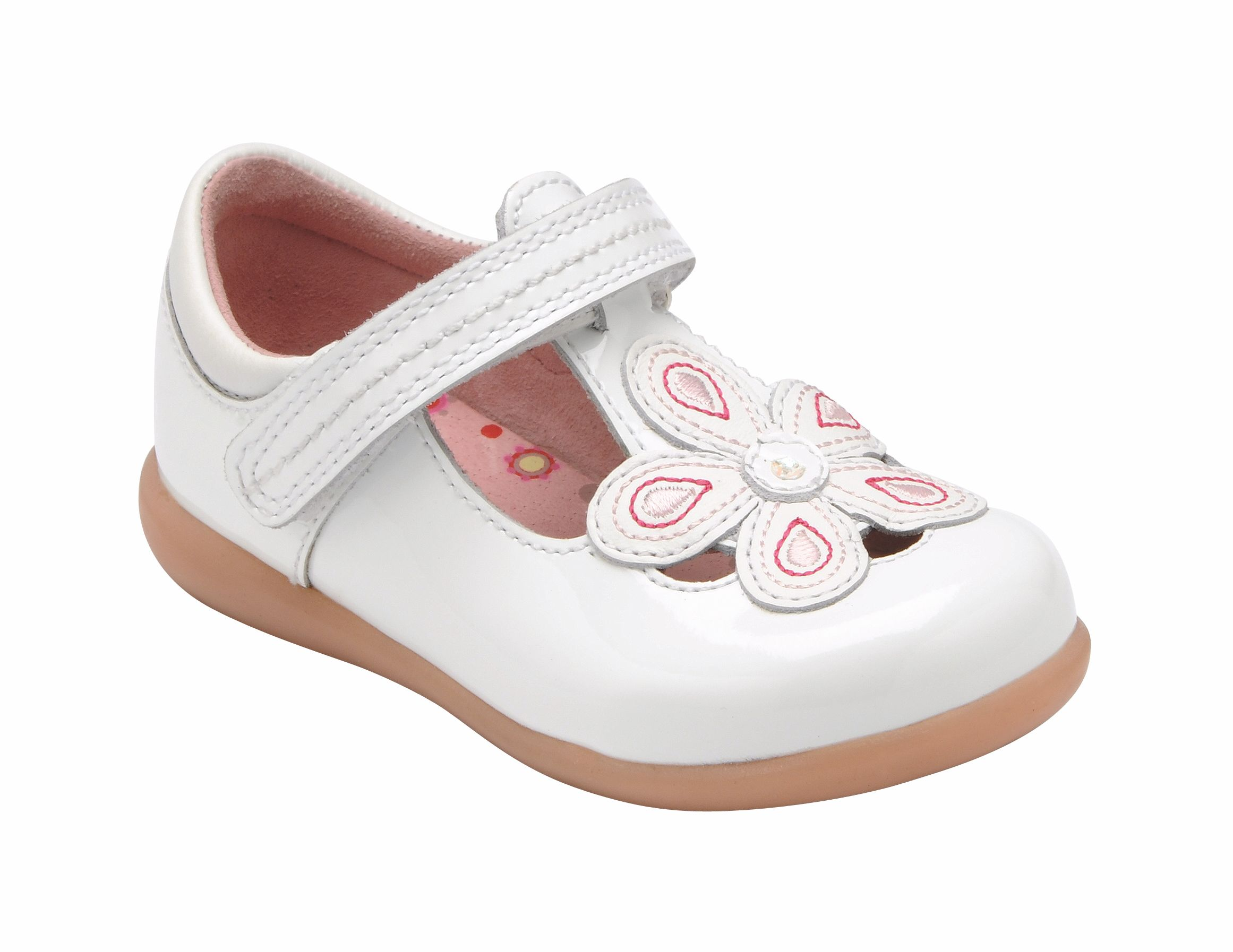 Girl`s april white patent shoes