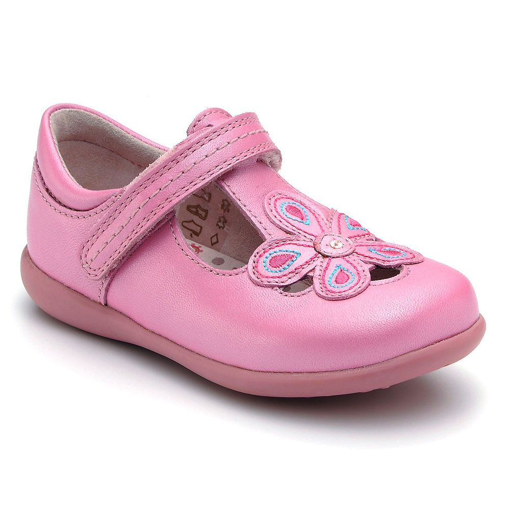 Girl`s april bright pink leather shoes