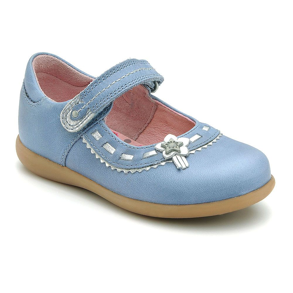 Girl`s ella blue leather shoes